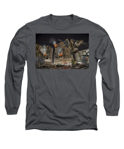 Long Sleeve T-Shirt featuring the photograph King Kong In Detroit Westin Hotel by Nicholas  Grunas