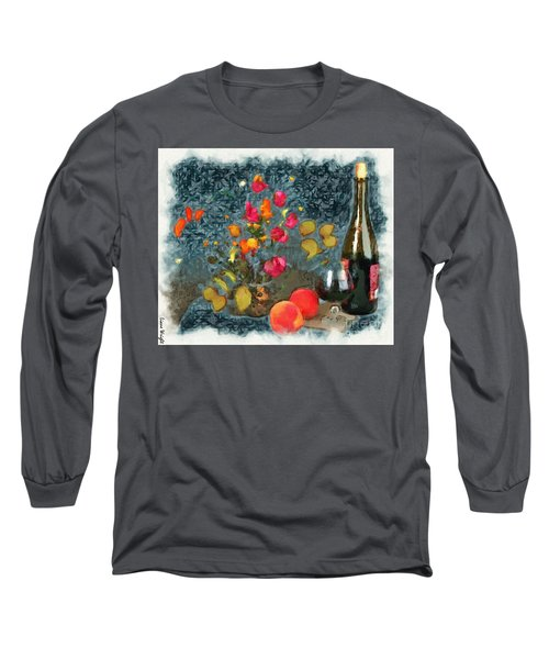 Kitchen - Peaches And Wine Painting  Long Sleeve T-Shirt