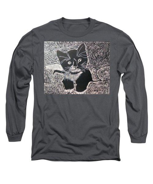 Kitty In Blanket Long Sleeve T-Shirt by Lisa Brandel