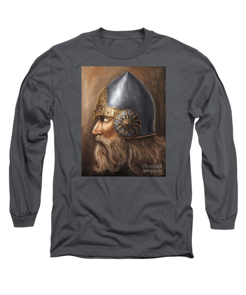 Long Sleeve T-Shirt featuring the painting Knight by Arturas Slapsys