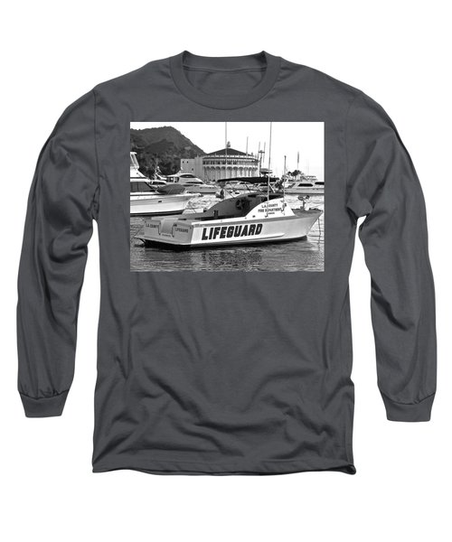 L A County Lifeguard Boat B W Long Sleeve T-Shirt