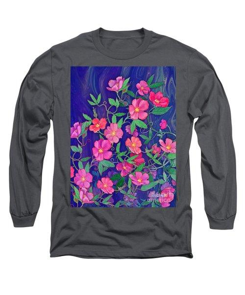 Long Sleeve T-Shirt featuring the mixed media La Vie En Rose by Teresa Ascone