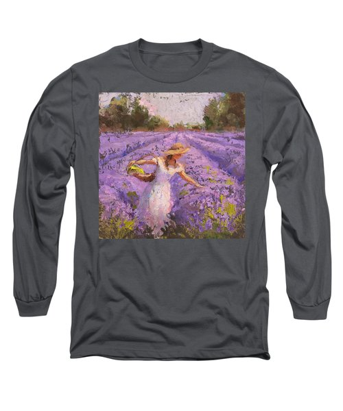 Woman Picking Lavender In A Field In A White Dress - Lady Lavender - Plein Air Painting Long Sleeve T-Shirt by Karen Whitworth