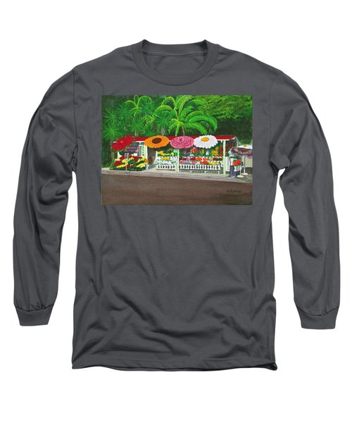 Laguna Beach Flower Stand Long Sleeve T-Shirt by Mike Robles