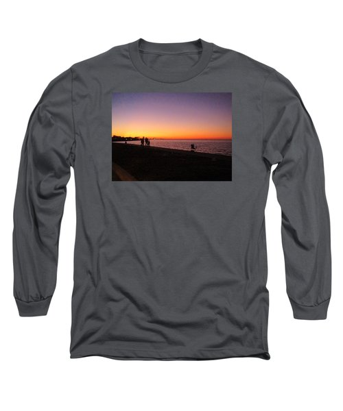 Lake Pontchartrain Sunset Long Sleeve T-Shirt by Deborah Lacoste