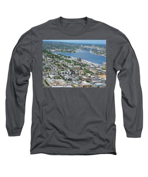 Lake Union Panorama Long Sleeve T-Shirt by David Trotter