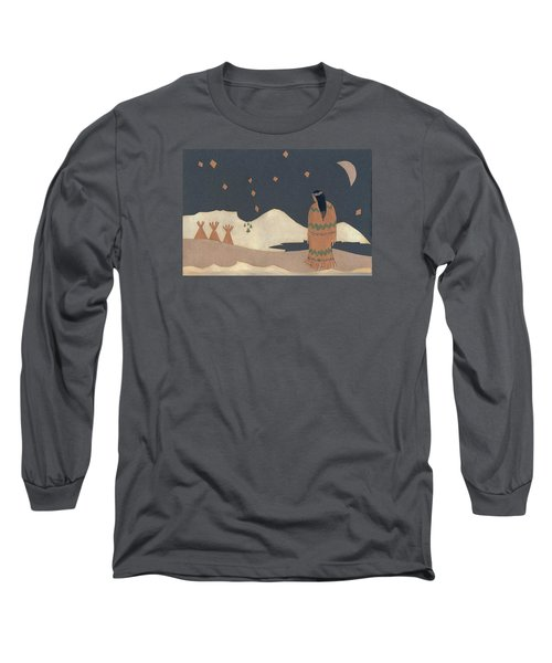 Lakota Woman With Winter Constellations Long Sleeve T-Shirt