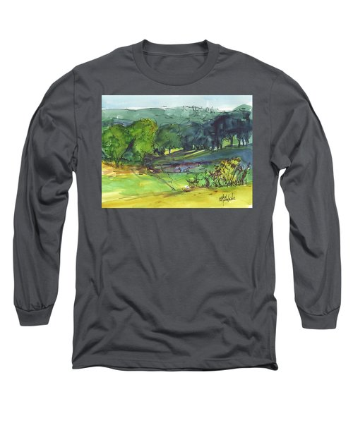 Landscape Lakeway Texas Watercolor Painting By Kmcelwaine Long Sleeve T-Shirt