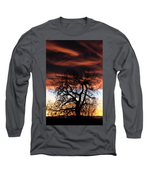 Large Cottonwood At Sunset Long Sleeve T-Shirt