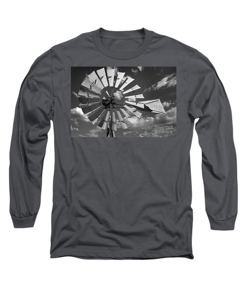 Large Windmill In Black And White Long Sleeve T-Shirt