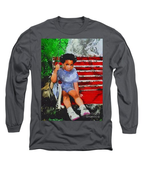 Long Sleeve T-Shirt featuring the painting Lauren On The Swing by Vannetta Ferguson