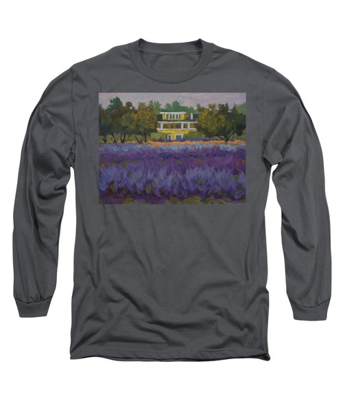 Lavender Farm On Vashon Island Long Sleeve T-Shirt by Diane McClary