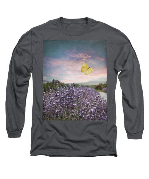 Lavender Field Pink And Blue Sunset And Yellow Butterfly Long Sleeve T-Shirt by Brooke T Ryan