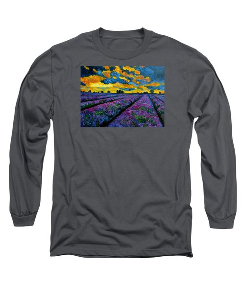 Lavender Fields At Dusk Long Sleeve T-Shirt by Julie Brugh Riffey