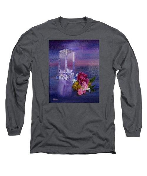 Lavender Vase Long Sleeve T-Shirt by LaVonne Hand