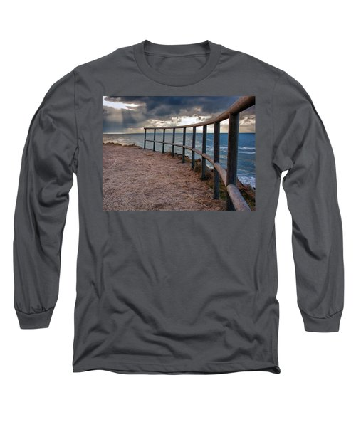 Rail By The Seaside Long Sleeve T-Shirt by Mike Santis