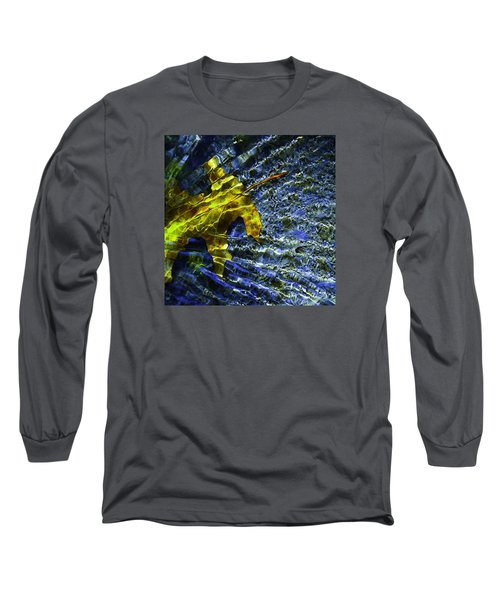 Long Sleeve T-Shirt featuring the photograph Leaf In Creek - Blue Abstract by Darryl Dalton