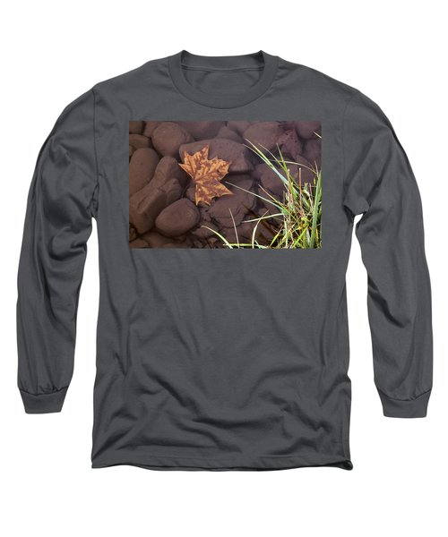 Leaf In The Mountain Fork River Long Sleeve T-Shirt