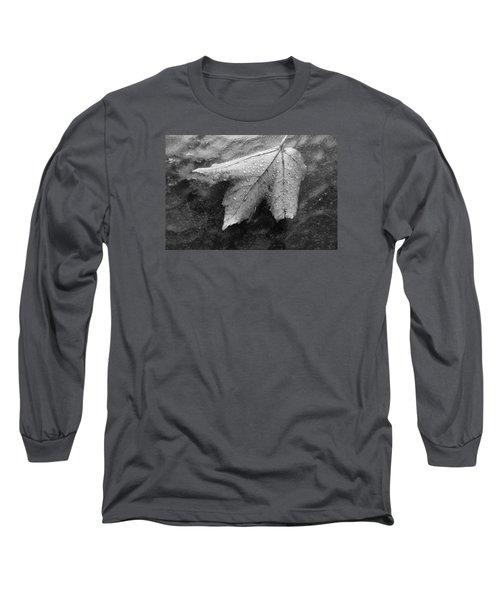 Leaf On Glass Long Sleeve T-Shirt by John Schneider