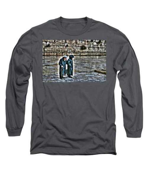 Long Sleeve T-Shirt featuring the photograph Leaving The Western Wall In Israel by Doc Braham