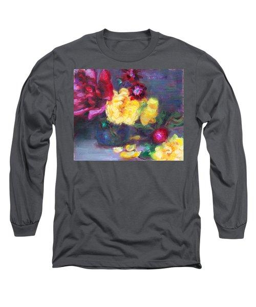 Lemon And Magenta - Flowers And Radish Long Sleeve T-Shirt