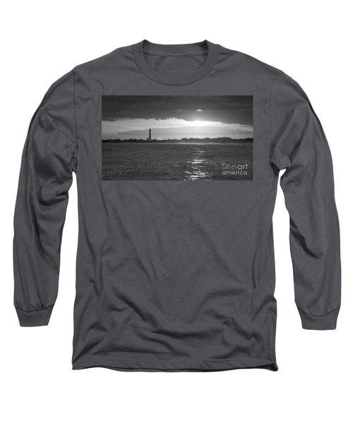 Lighthouse Sun Reflections Bw Long Sleeve T-Shirt