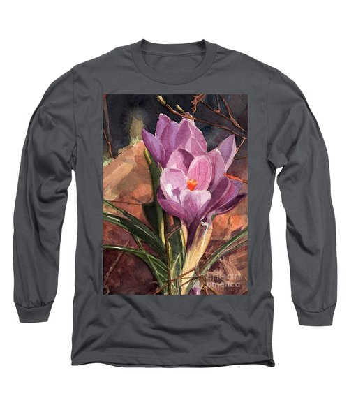 Lilac Crocuses Long Sleeve T-Shirt by Greta Corens