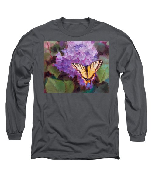 Lilacs And Swallowtail Butterfly Long Sleeve T-Shirt by Karen Whitworth