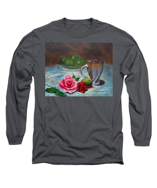 Long Sleeve T-Shirt featuring the painting Limes And Roses by Jenny Lee