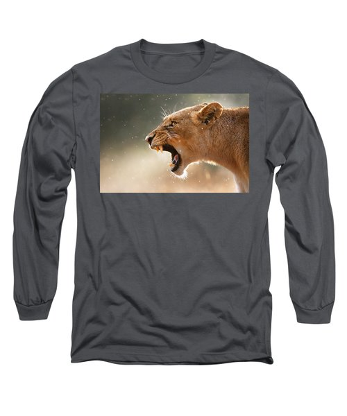 Lioness Displaying Dangerous Teeth In A Rainstorm Long Sleeve T-Shirt by Johan Swanepoel