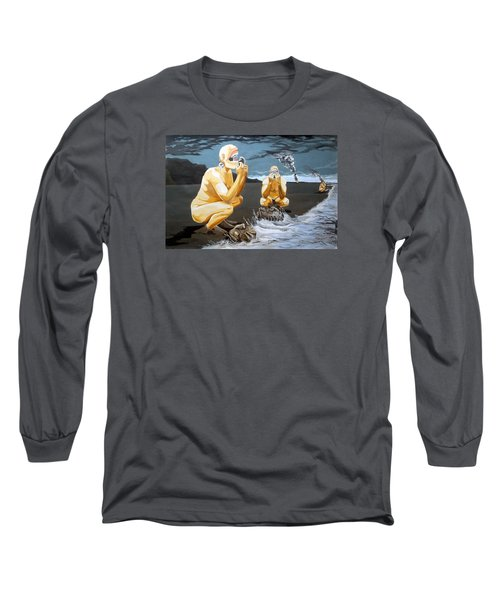 Long Sleeve T-Shirt featuring the painting Lithophagus Listen With Music Of The Description Box by Lazaro Hurtado