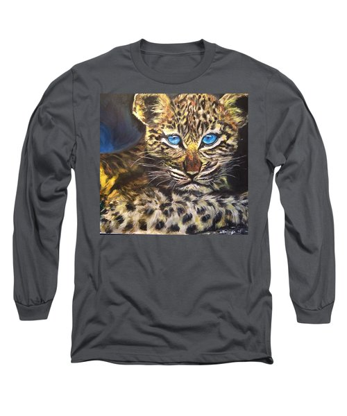 Long Sleeve T-Shirt featuring the painting Little Blue Eyes by Belinda Low