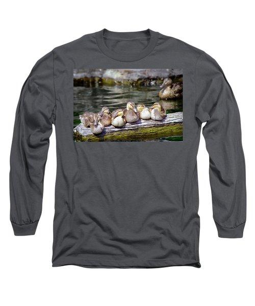 Little Ducklings On A Log Long Sleeve T-Shirt