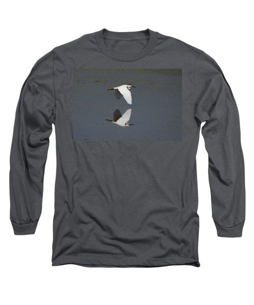 Little Egret In Flight Long Sleeve T-Shirt