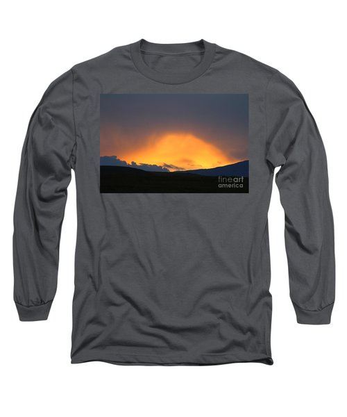 Long Sleeve T-Shirt featuring the photograph Livingstone Range Sunset by Ann E Robson
