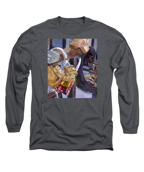 Long Sleeve T-Shirt featuring the painting Locks Of Luck by Lynne Reichhart