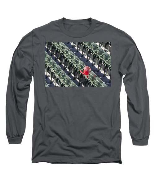 Long Sleeve T-Shirt featuring the photograph Lone Red Number 21 Fenway Park by Susan Candelario