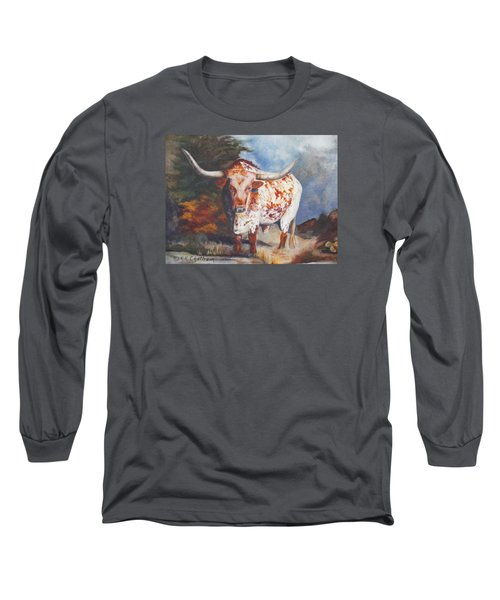 Lone Star Longhorn Long Sleeve T-Shirt by Karen Kennedy Chatham