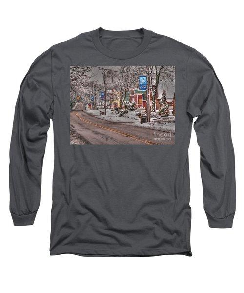 Long Grove In Snow Long Sleeve T-Shirt by David Bearden