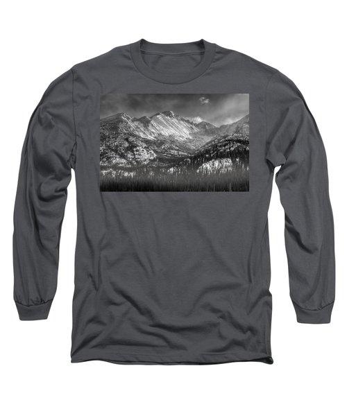 Longs Peak Rocky Mountain National Park Black And White Long Sleeve T-Shirt