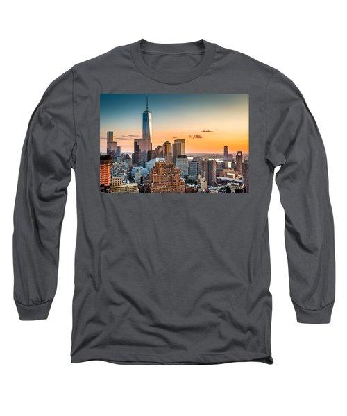 Lower Manhattan At Sunset Long Sleeve T-Shirt