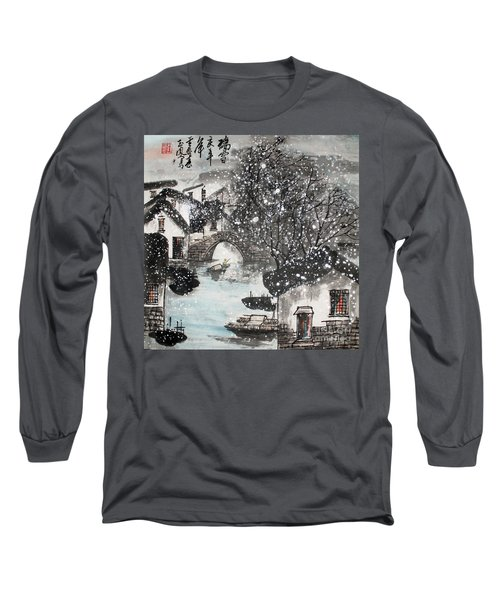 Long Sleeve T-Shirt featuring the painting Lucky Snow  by Yufeng Wang