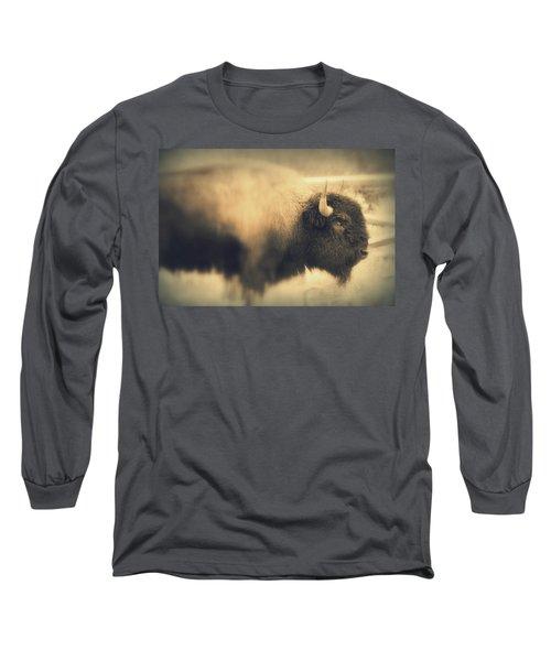 Long Sleeve T-Shirt featuring the photograph Lucky Yellowstone Buffalo by Lynn Sprowl