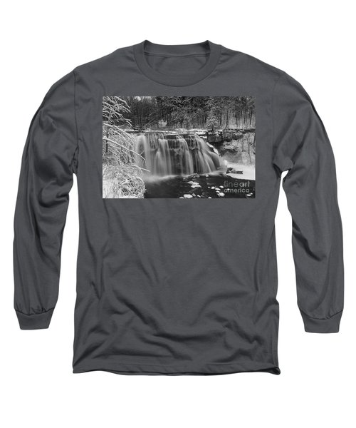 Ludlowville Falls In Winter I Long Sleeve T-Shirt