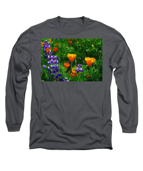 Lupines And Poppies Long Sleeve T-Shirt by Lynn Bauer