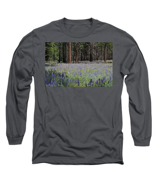 Lupines In Yosemite Valley Long Sleeve T-Shirt by Lynn Bauer