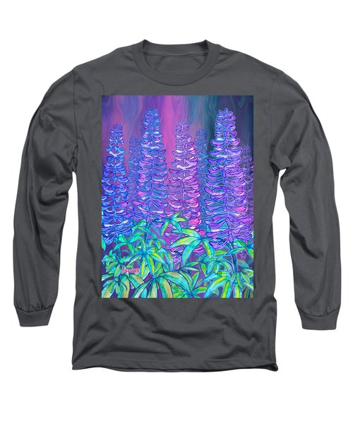 Long Sleeve T-Shirt featuring the mixed media Lupines by Teresa Ascone