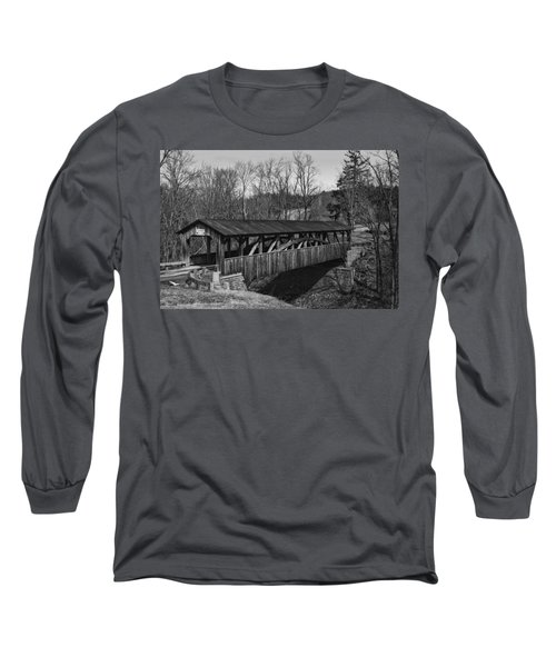 Luther's Mill Covered Bridge Black And White Long Sleeve T-Shirt