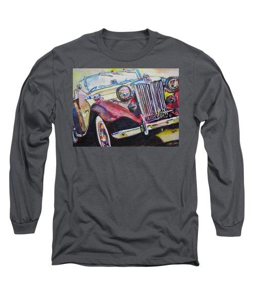 Long Sleeve T-Shirt featuring the painting M G Car  by Anna Ruzsan