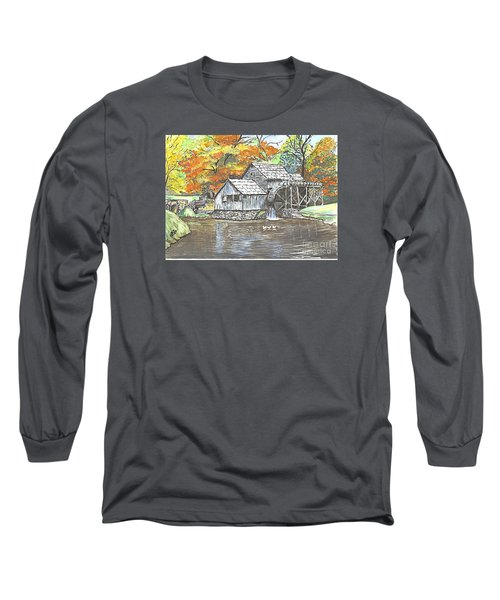 Long Sleeve T-Shirt featuring the painting Mabry Grist Mill In Virginia Usa by Carol Wisniewski